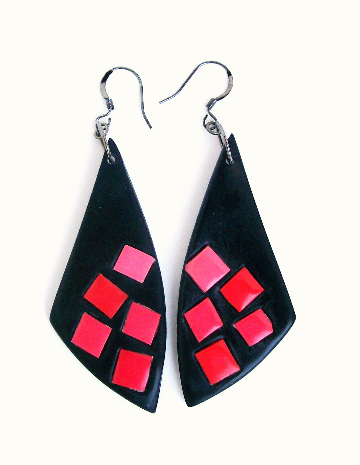 clay Eper tangerine-pink mosaic dangle earrings