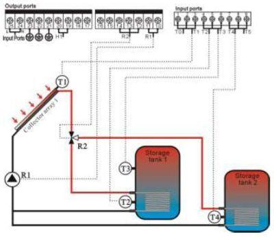 Схемы подключения солнечного контроллера SR 728 C к гелиосистеме с одним баком-аккумулятором при поочередной работе...